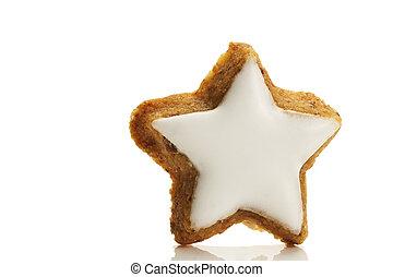 jeden, gwiazda postała, cynamon, suchar, na białym, tło