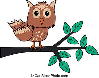 jeden, hněď, sova, sedění, oproti větvit