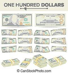 jeden, illustration., banknot, odizolowany, dolary, halabarda, currency., gotówka, na, dwa, symbol, stogi, amerykanka, vector., pieniądze, 100, sto, boki, rysunek