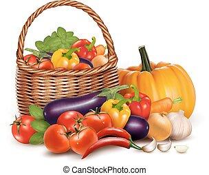 jeden, koš, plný, o, čerstvý, vegetables., vektor, grafické pozadí.