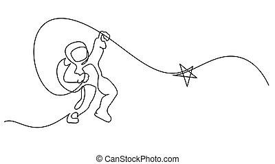 jeden, kreska, ciągły, wektor, astronauta, logo, rysunek