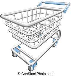 jeden, lesklý, shopping vozík, trolejbus, vektor, ilustrace