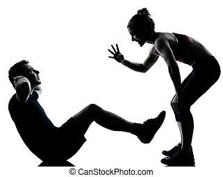 jeden, para, obsadzać kobietę, wykonując, trening,...