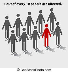 jeden, poza, od, dziesięciu ludzie