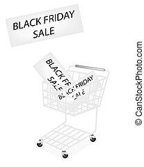 jeden, shopping vozík, dále, čerň, pátek, prapor