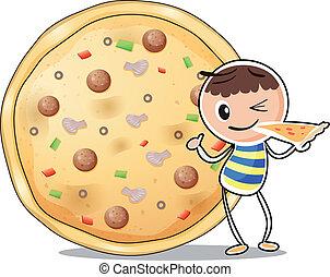 jeden, sluha, u, jeden, big, pizza