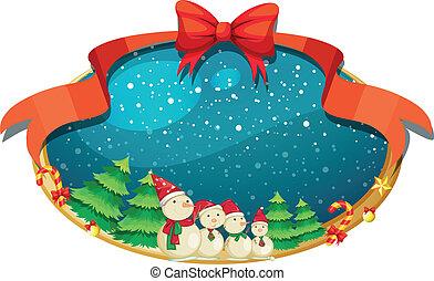 jeden, vánoce, výprava, s, čtyři, sněhuláci