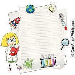 jeden, věda, děvče, nota, šablona