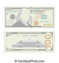 jeden, vector., banknot, odizolowany, dolary, halabarda, gotówka, na, dwa, symbol, amerykanka, urrency., pieniądze, 100, sto, boki, rysunek, illustration.