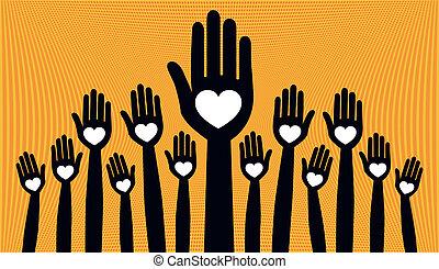 jeden, velký, dav, o, milující, národ.