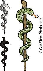 jeden, wąż, kaduceusz