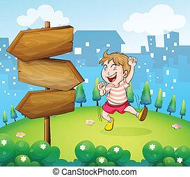 jeden, young sluha, hraní, u, ta, dřevěný, arrowboard