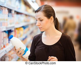 jeden, young sluka, do, jeden, potraviny, supermarket