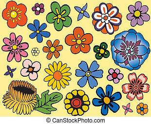 jedinečný, květiny, rozmanitý