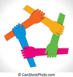jedność, ręka, barwny, pokaz
