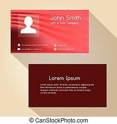 jednoduchý, červeň, abstraktní, barva, business card, design, eps10