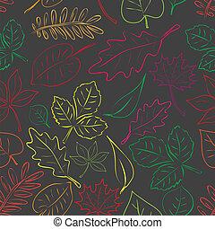 jednoduchý, autumn list, ponurý, a, barva, seamless, model, eps10