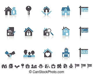 jednoduchý, konzervativní, barva, nemovitost, ikona, dát