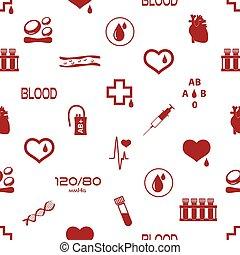 jednoduchý, krev, vektor, ikona, seamless, model, eps10