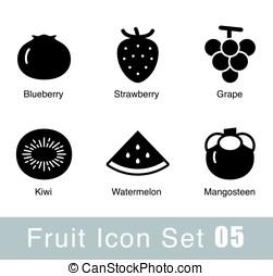 jednoduchý, lahodnost, ovoce, byt, ikona, design, vektor, ilustrace