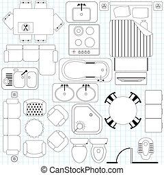 jednoduchý, nábytek, /, plán prostorového uspořádání