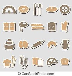 jednoduchý, pekařství, věc, barva, prasečkář, dát, eps10