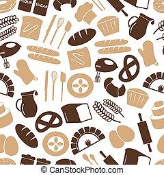 jednoduchý, pekařství, věc, ikona, seamless, barva, model, eps10