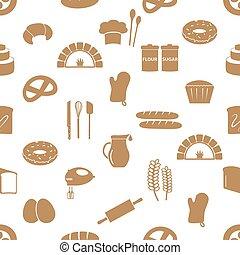 jednoduchý, pekařství, věc, ikona, seamless, model, eps10
