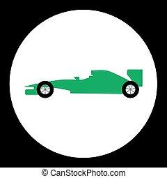 jednoduchý, sport, formule, osamocený, čerň, ikona, eps10
