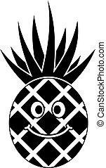 jednoduchý, usmívaní, ananas, ikona