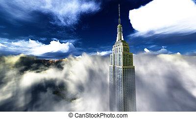 jednorazowy, drapacz chmur