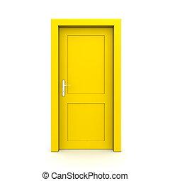 jednorazowy, drzwi, zamknięty, żółty