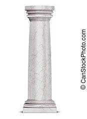 jednorazowy, grek, kolumna, odizolowany, na białym