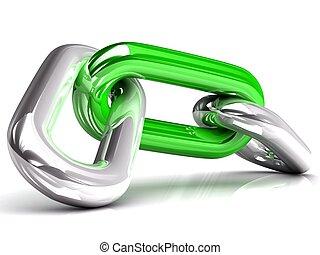 jednorazowy, ogniwo, łańcuch, 3d