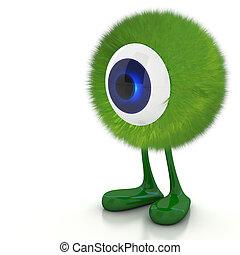 jednorazowy, oko, potwór