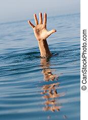 jednorazowy, ręka, od, topienie, człowiek, w, morze, pytając, dla, pomoc