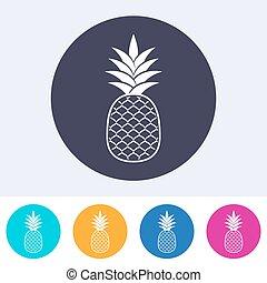 jednorazowy, wektor, ananas, ikona