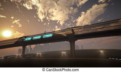 jednoszynowy, tunnel., pociąg, ilustracja, futurystyczny, 3d