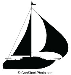 Illustration of silhouettes yacht on a white background.