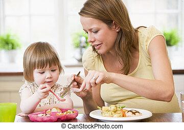jedzenie, brzemienny, warzywa, porcja, macierz, kurczak, kuchnia