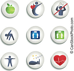 jedzenie, ikony, zdrowy, ciężar, inny, normalny