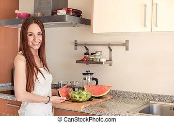 jedzenie, kobieta, arbuz