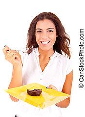 jedzenie, kobieta, młody, czekoladowy placek