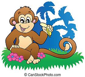jedzenie, małpa, dłonie, banan