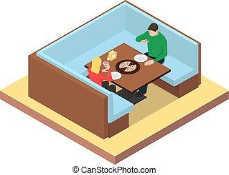 jedzenie, pizza., posiedzenie, para, młody, stół