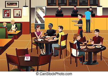 jedzenie, restauracja, ludzie, młody, razem, pizza