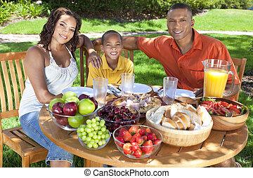 jedzenie, rodzina, zdrowy, amerykańskie jadło, zewnątrz, afrykanin