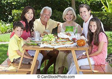 jedzenie, rodzina, zdrowy, dziadkowie, zewnątrz, rodzice, dzieci