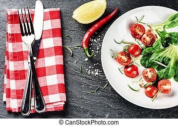 jedzenie, sałata, wiśnia, świeży, dieta, nagniotek, tomatoes., pojęcie, zdrowy