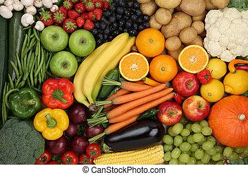 jedzenie, zdrowy, wegetarianin, tło, owoce, warzywa